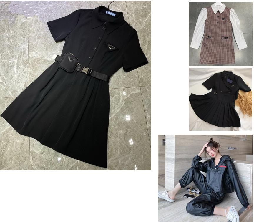 2021 Spring Summer Designers Mulheres Duas peças Sets Woman Tracksuits Outfit Neck T-shirt de manga curta e saia de uma linha - 3.