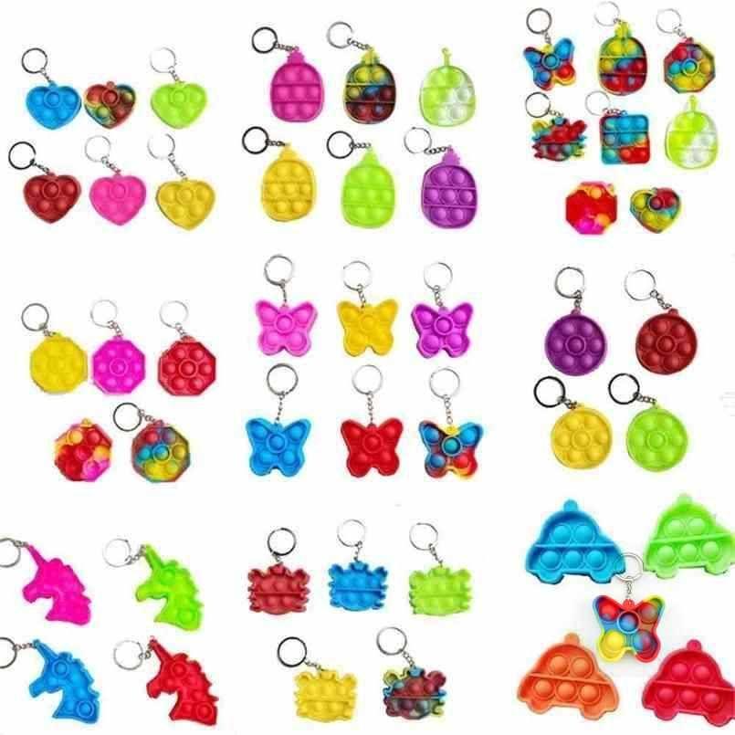 DHL Fidget simple Tiktok toy kids Mini Keychain Push Poo its Bubble Sensory toys Keychain Cartoon rainbow tie-dye Finger Chains BJ02