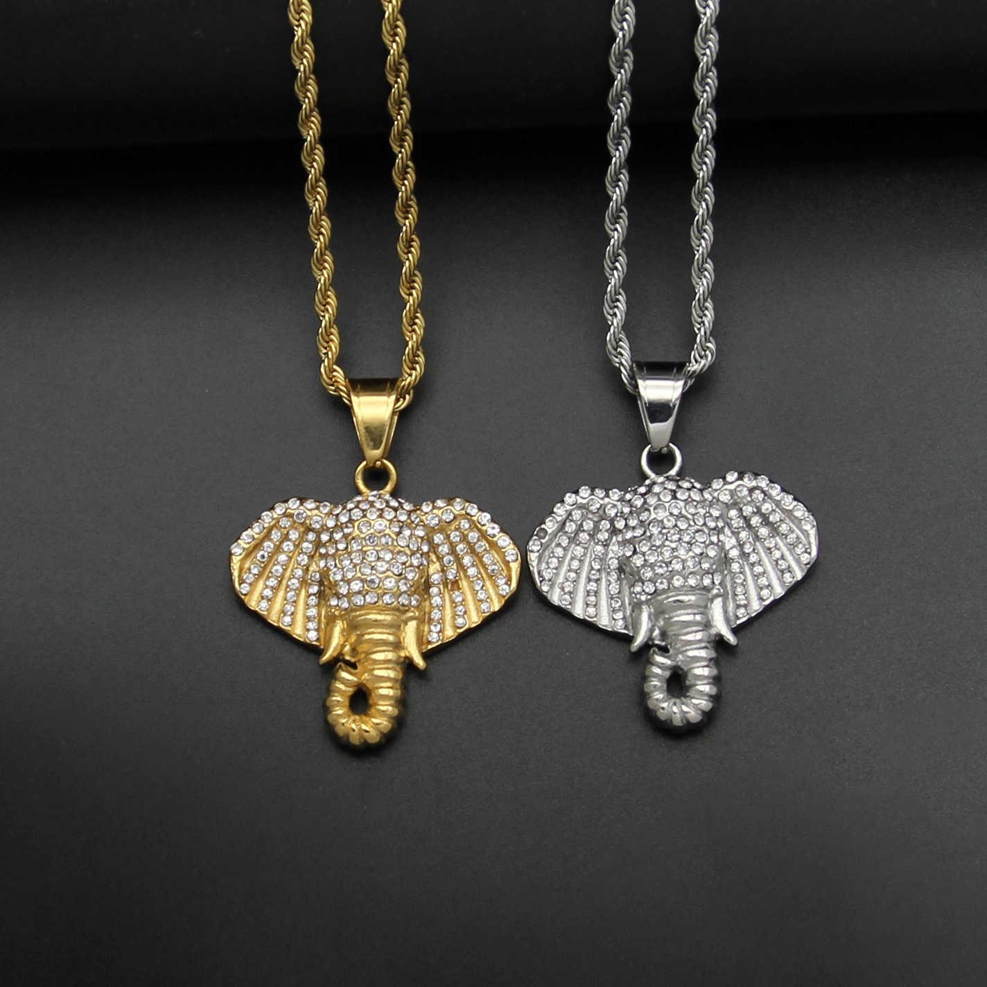 Ins مجوهرات جديدة 316 الفولاذ المقاوم للصدأ الحفر الكامل الفيل رئيس الهيب هوب قلادة الحيوان DW309
