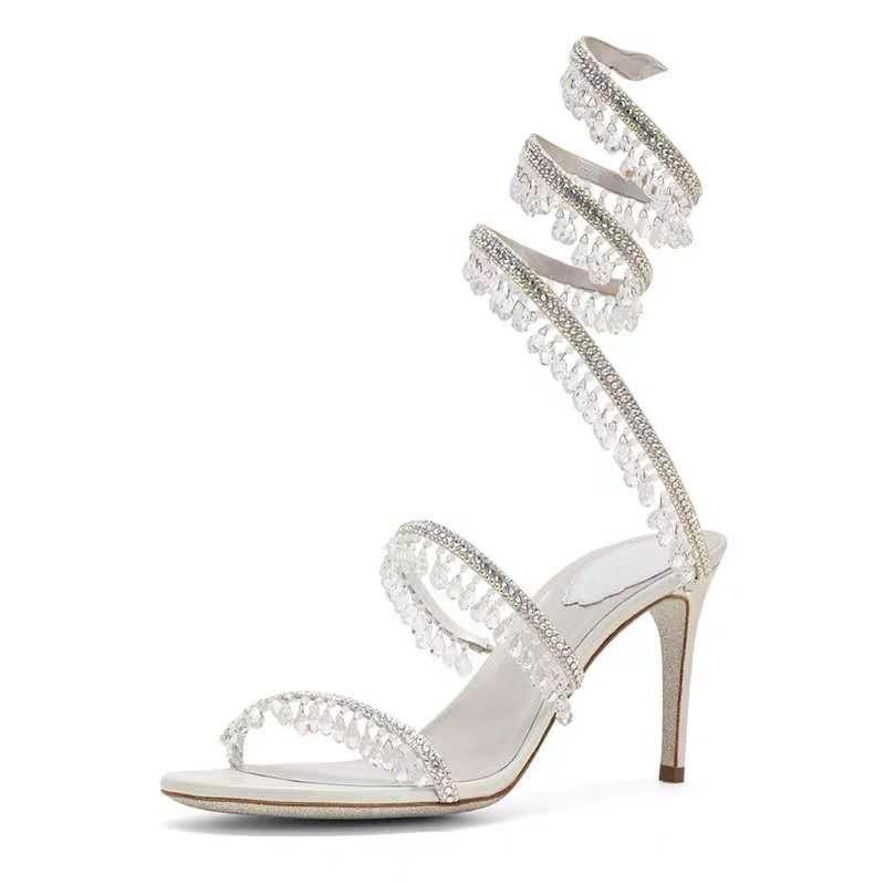 Frauen Cleo Kronleuchter Sandale Strass 80mm 8 cm Ferse Bling Schlanke Riemen Spiralband Kristalle Funkelnde Glitzerschuhe Sandalen
