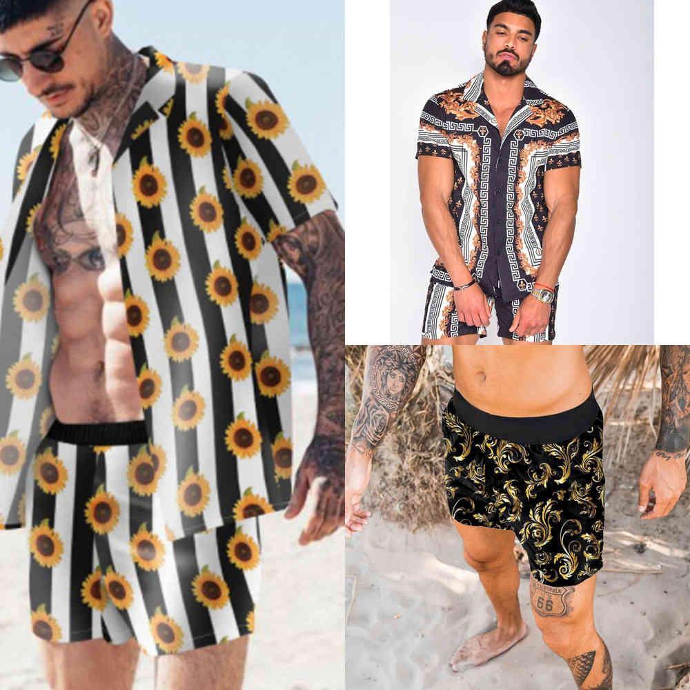 Männer Set Sommer Kurzarm Anzüge Shorts Button Down Tropical Print T-Shirt + Shorts Strand Zwei Teil Hawaii Anzug Casual Sets X0601