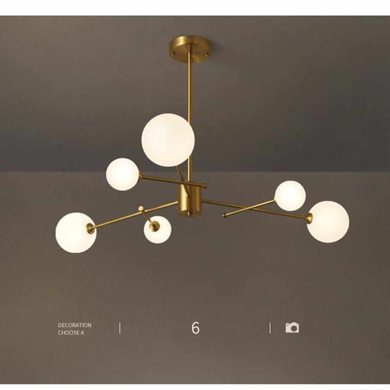 현대 LED 샹들리에 조명 거실 침실 식사 황금 구리 분기 유리 공 천장 펜던트 램프 홈 샹들리에