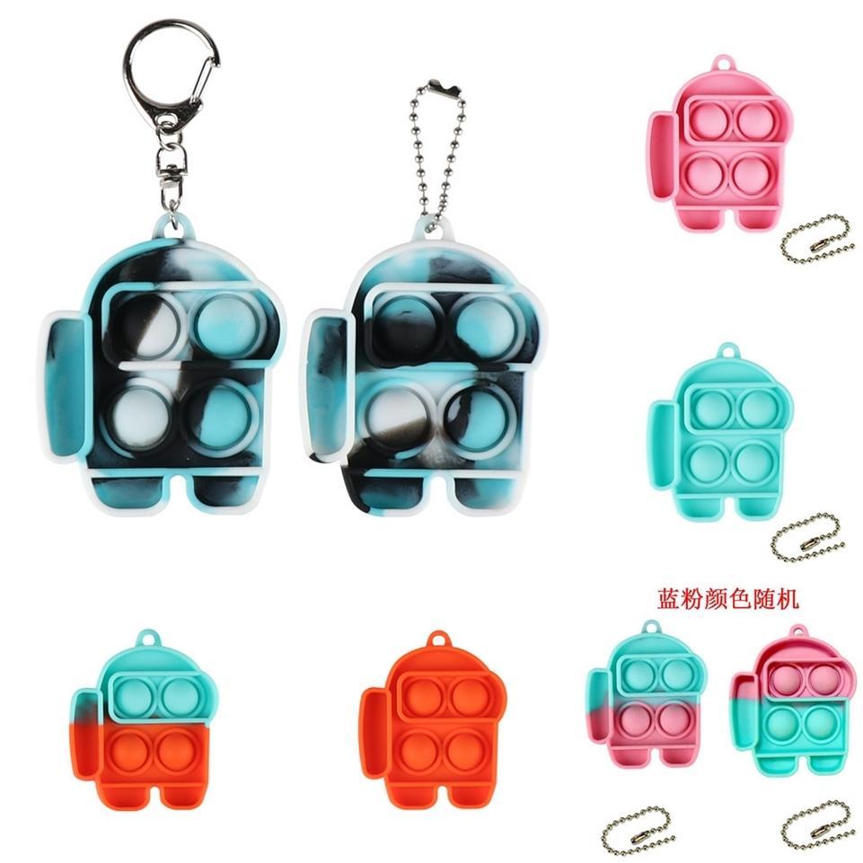 Push Bubble Fidget Toys Key Chain Sensory Key Ring Holder Kids Adults Stress Relief Tik Tok Autism Special Needs G4UX15O