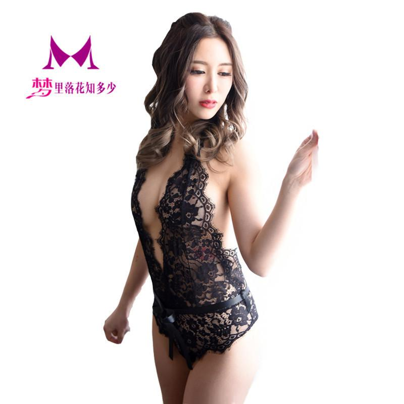 Sexy Underwear Buttocks Design Eyelashes Perspective Lace Sexy Transparent One-piece Suit 1145