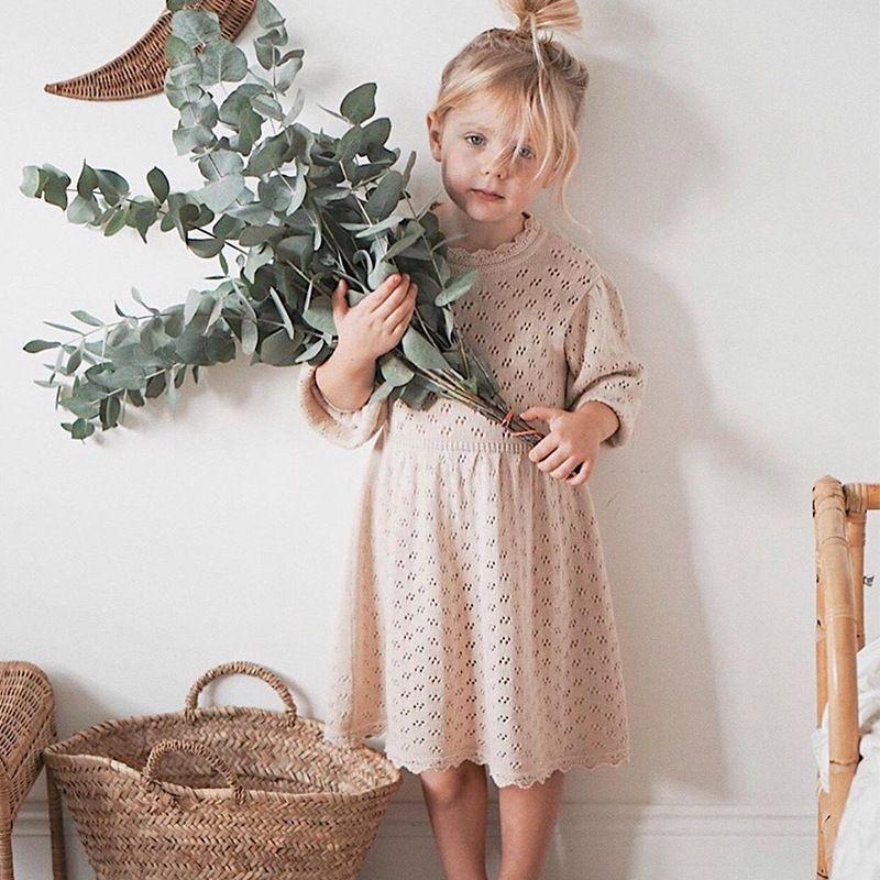 JY High-end Spring Autumn Kids Little Girls Dresses Hollow Out Designer Sweater Quality Children Princess Dress Bountique Clothes 2122 Q2