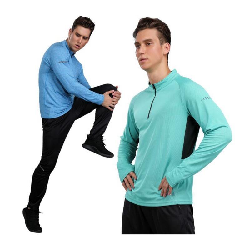 Turnhalle Langarm Herren Schnelle Trockenlauf Langarm Hemd Jogging Fitness Training Fahrrad Radfahren Jersey Outdoor T-Shirt Männer Sport Q0517