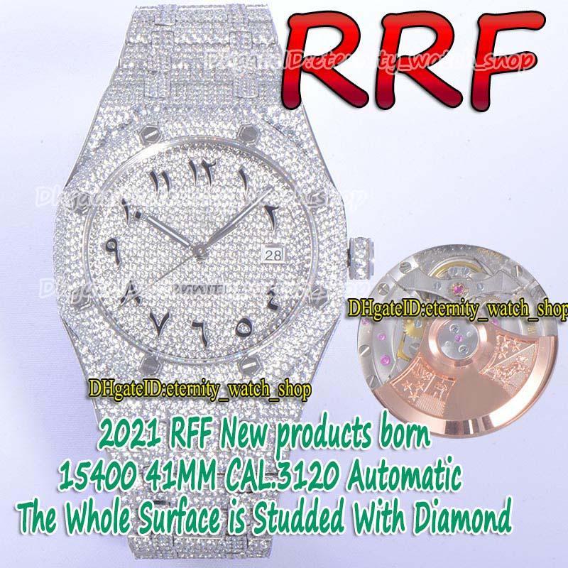 Eternity Montres RFF Gypsophila PAVÉ CZ Diamant 15400 Cadran arabe entièrement glacé de la sangle avec diamants cal.a3120 RF3120 Sport automatique Montre pour hommes 1545