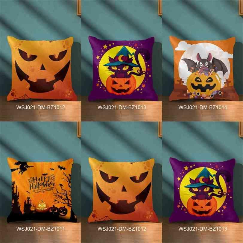 Halloween Pillow Cover Cartoon Pumpkin Head Evil Witch Plush Pliiow Case For Home Sofa Car Festival Ornaments Pillowcase Supplies G86LYGZ