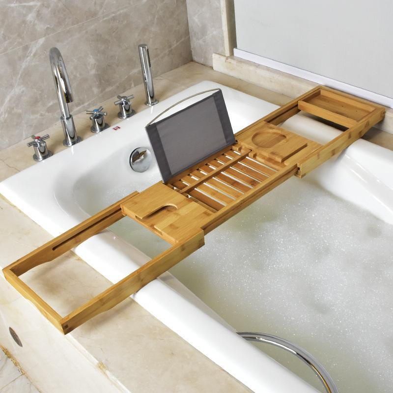 Conjunto acessório de banho extensível bandeja de banheira de bambu spa caddy organizador de prateleira