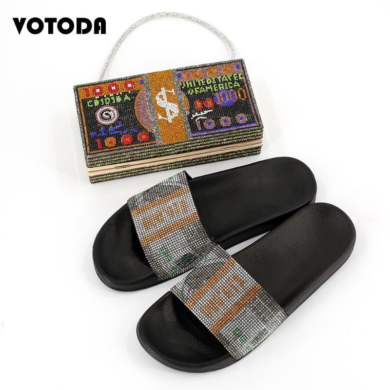 Summer Mujeres Diamante Zapatillas Dinero Embrague Rhinestone Monedero Set Flat Bling Dólar Detalle Slides Ladies Cash Bolso de mano Zapatos