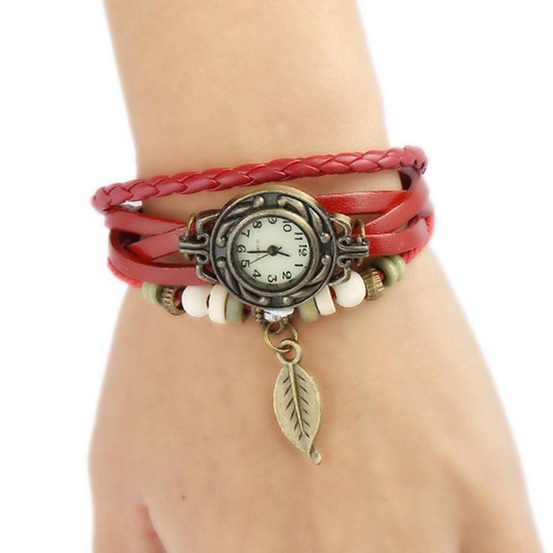Montre-bracelet à la main bracelet mode tissé horloger rétro femme en gros en cuir de luxe de luxe de luxe