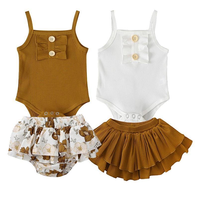 3 Stil infant Baby Mädchen Kleidung Sets Sleeveless Sling Tops Strampler + Blumendruck Tutu Rock Outfit Sonnenanzug Baby Mädchen Sommer Sets1 758 Y2