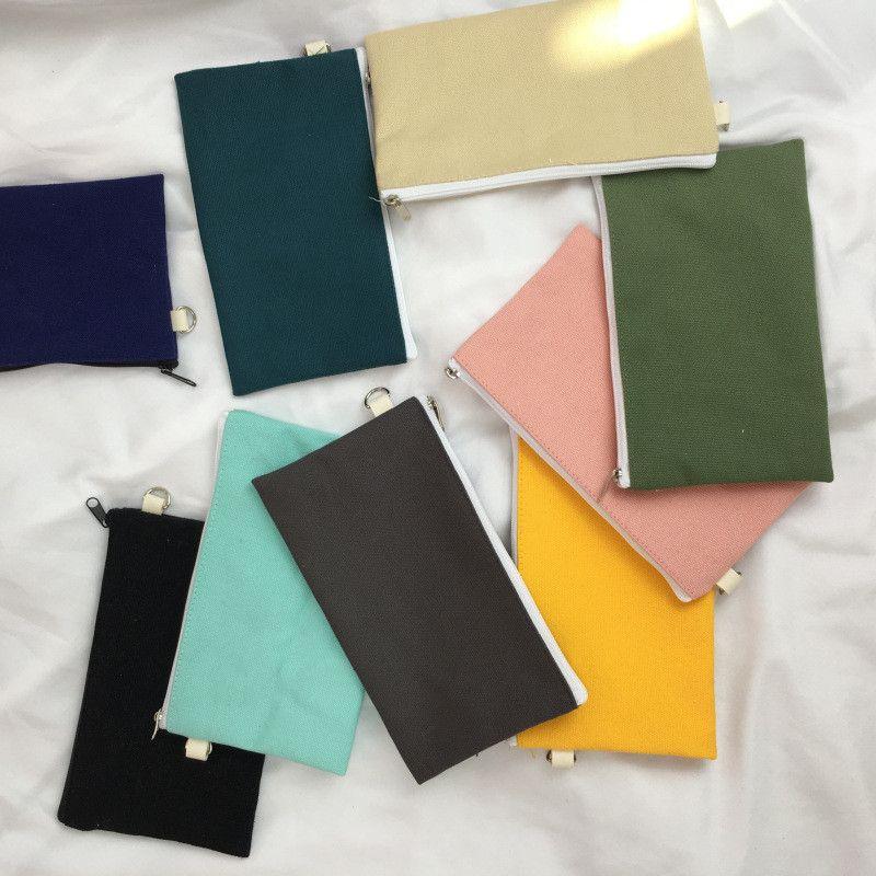 Simplicity Blank Canvas Zipper Pencil Cases Bags Pen Pouches Cotton Cosmetic Makeup Mobile Phone Clutch Bag