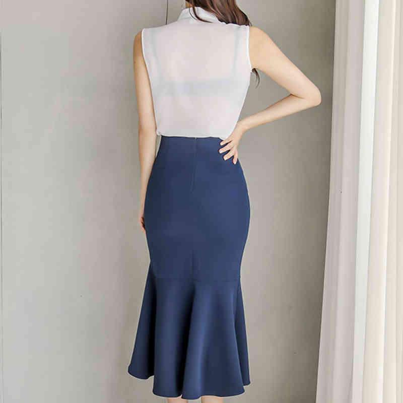 vestidos verão 2 peças conjunto mulheres camisas blusas e cintura alta raflets irregular saias coreano escritório senhora terno