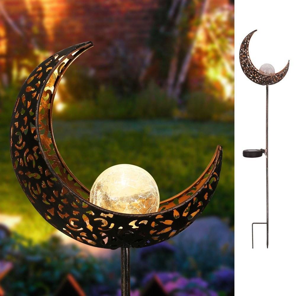 LED Solaire Light Moon Shape Lampe à gazon étanche Lumières extérieures pour Jardin Paysage Courtyard Voyage Piste De La Patio Decoration ESU