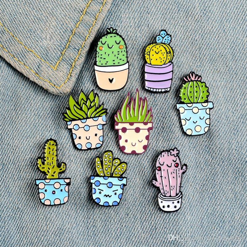 Dibujos animados Cactus Broche Linda Mini Planta Planta Embarcación Mujer Denim Chaquetas Zapatillas Pines Sombrero Insignias Niños Cactus Insignia