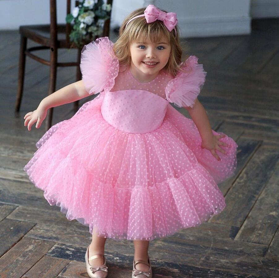 Girl's Pageant Dresses Ball Gowns Pink Birthday Party Kids Formal Wear Flower Girls For Wedding Guest Size 4 6 8 10 Knee-Length