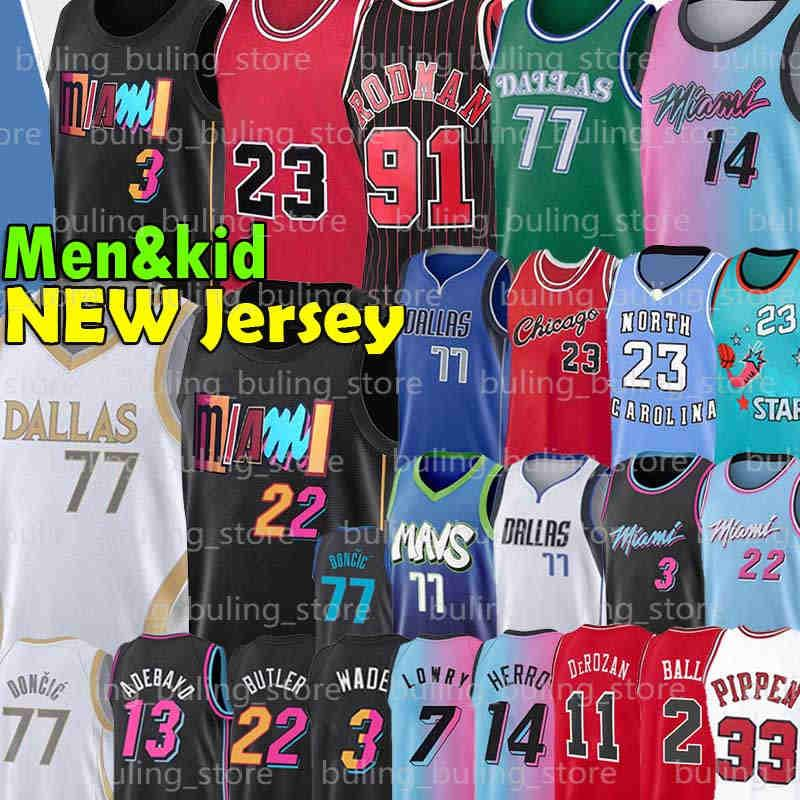Chicago Bulls Dallas Mavericks Michael 77 Doncic Jersey Jordan Wade MJ Luka 23 9 Dwyane Porzingis Dennis 91 Rodman Scottie 33 Pippen Jimmy Tyler 14 Herro Butler Basketball