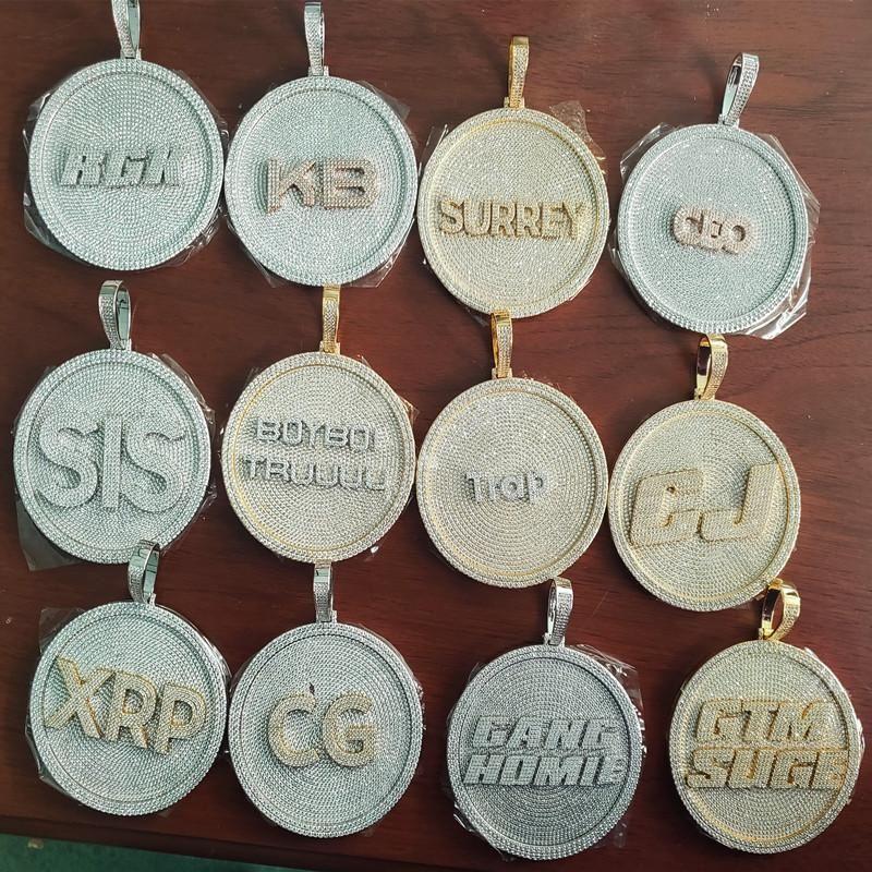 Mens bling jóias banhado a ouro completo cz gelado para fora letras personalizadas Colar de pingente para homens Hip Hop Jóias Presente