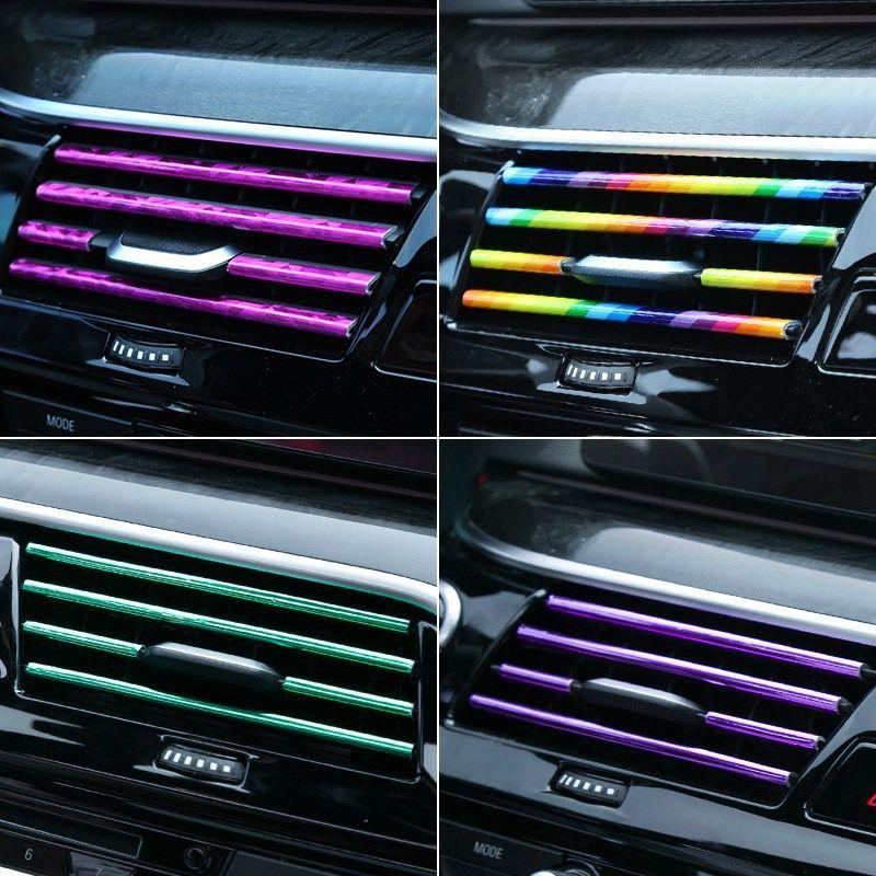 10 قطع سيارة الداخلية صب تريم قطاع ملون التصميم تصفيح الهواء المخرج السيارات الهواء مكيف الديكور ملصق السيارات الملحقات diy