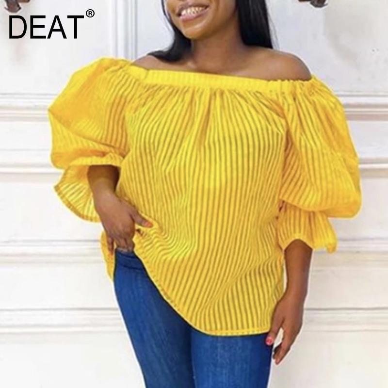 [Deat] Sexy Slash Hals Streifen Gelbe Lantern Sleeve Streetwear Hemd Top Plus Size Kleidung Bluse Frauen 2021 Frühling GX209 Damen Blusen