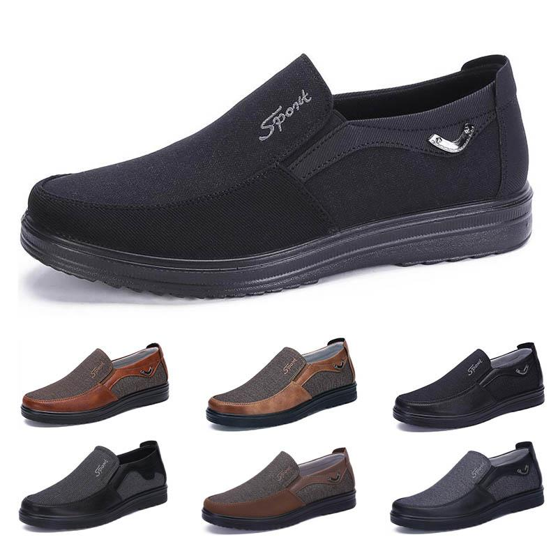 popular Business style mens shoes comfortable breathable black brown dark bronze camel coffee navy soft flats bottoms men office casual sneakers 38-44