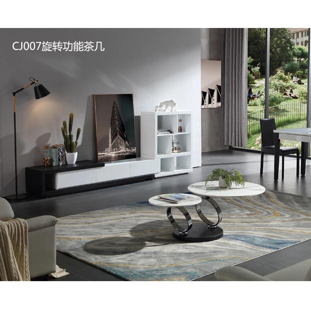 Italian minimalist light luxury living room rotational rock board coffee table