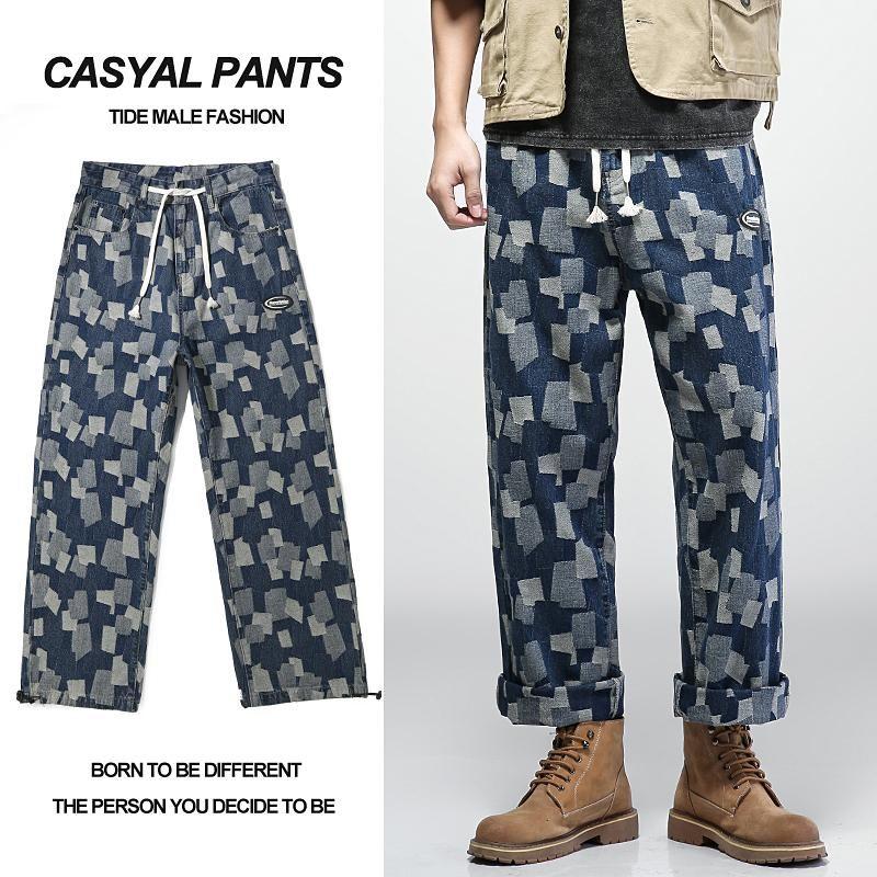 Junge Männermode Mode Lose Casual Jacquard Jeans Trend High Street Mid-Taille Tie-Up Gerade Beinhose Breite