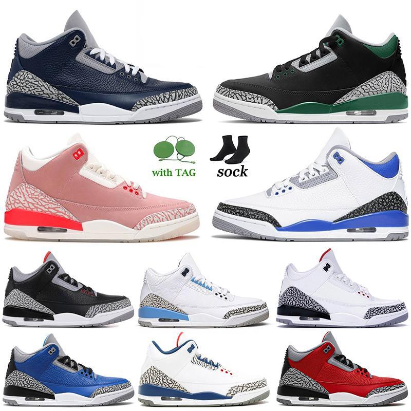 أحذية Nike Air Jordan Retro 3 Jumpman Jordans 3 III أحذية كرة السلة للرجال والنساء Georgetown UNC Racer Blue Rust Pink Black CAT Knicks Rivals Cour Purple Mocha احذية رياضية رياضية