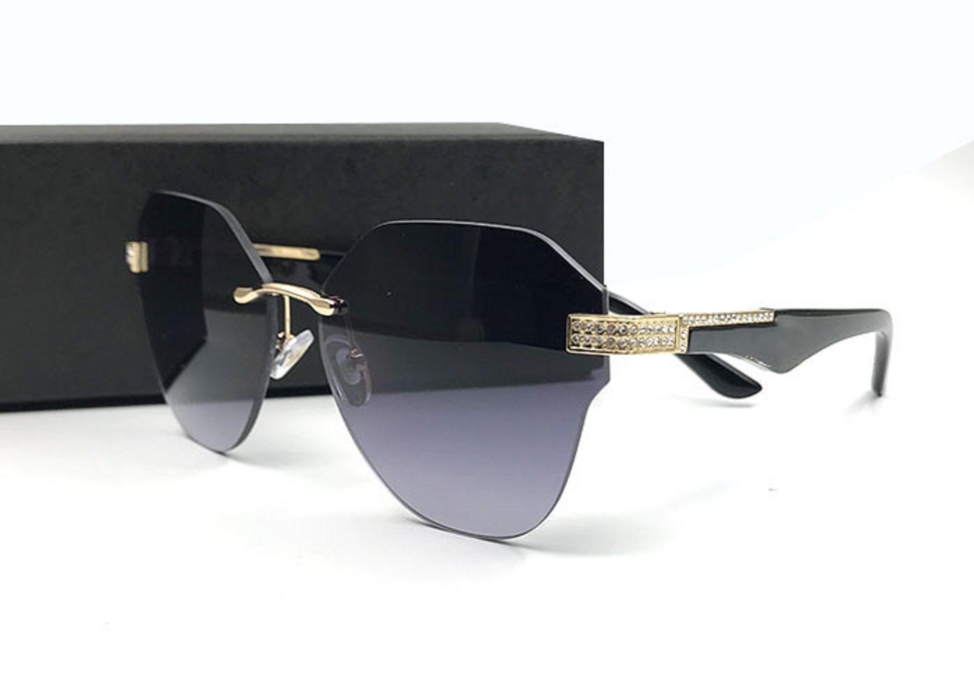 إيطاليا الفاخرة بدون شفة نظارات محدودة طبعة تألق الماس مصمم الإطار uv حماية نظارات الشمس الأزياء الصيف نمط للنساء