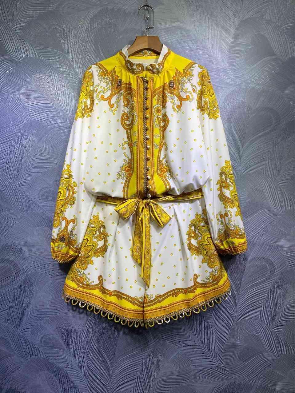 Австралия Зим Дворец Стиль Однобортская Печатная рубашка + Шорты набор