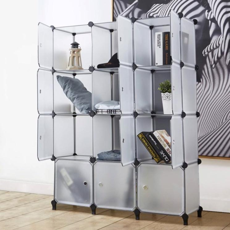 2022 Shoe Holders Storage Boxes 12 Cube Organizer with Doors,Cubes Portable Closet Wardrobe Armoire DIY Modular Cabinet Shelves for Clothes Books Shoes Toys