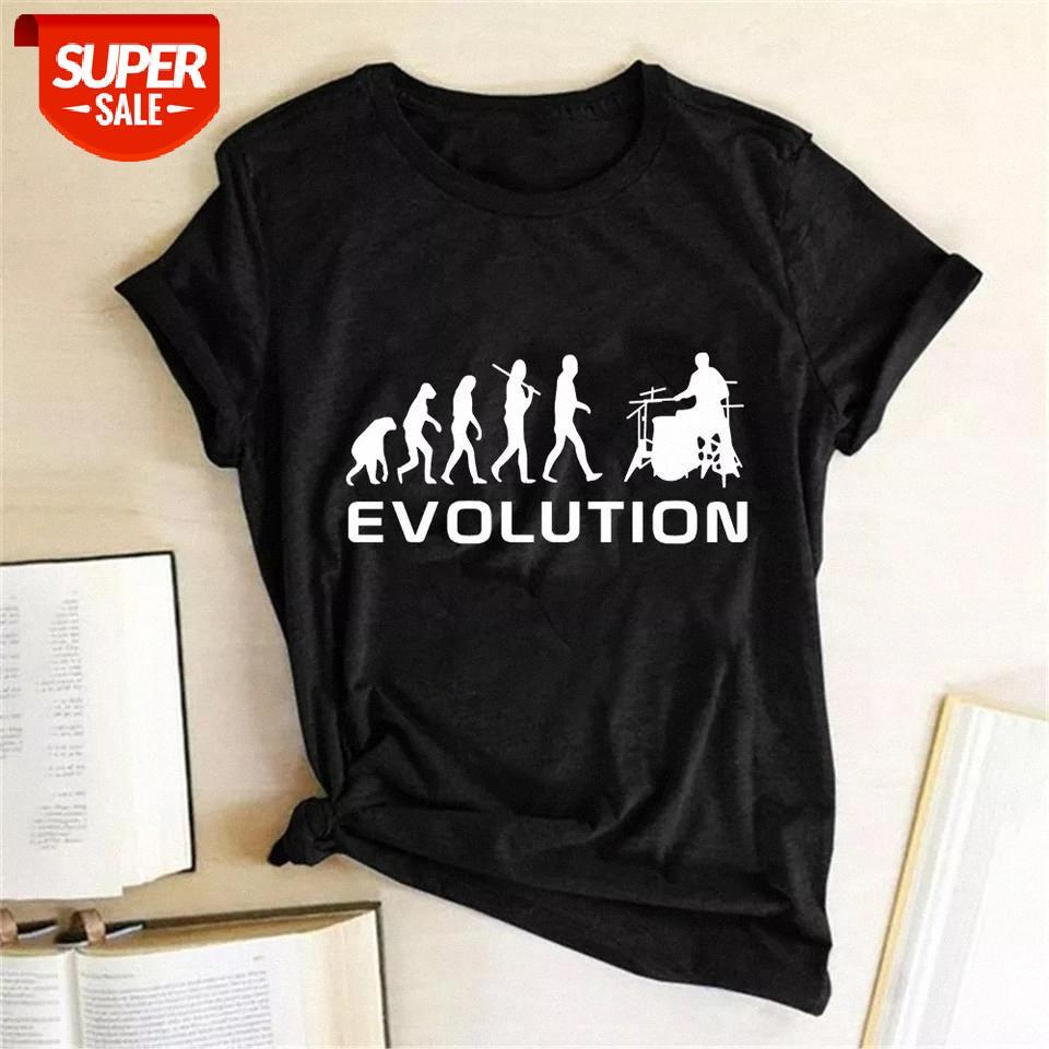 T-shirt Komik Kadın T Gömlek Mayo Adam Evrimi Davulcu Yaz Tshirt Harajuku Kısa Kollu Moda Tee Humouristique Femme Parti # BW0H Tops