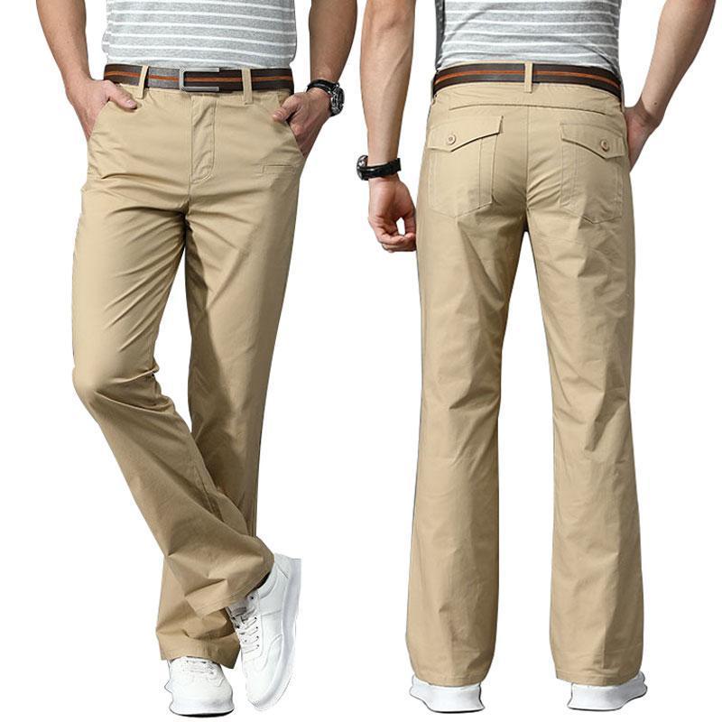 Primavera verano hombres finas pantalones fiared pantalones de negocios casual estiramiento delgado acogedor cintura mediados negro kahki gris verde blanco botas corte pantalones hombres