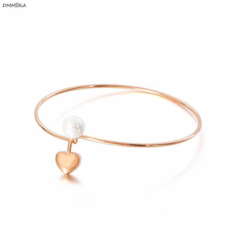 2020 Moda Simüle-Inci Kalp Bileklik Renk Altın Paslanmaz Çelik Kadın Severler Takı Hediye Mujer Pulseras