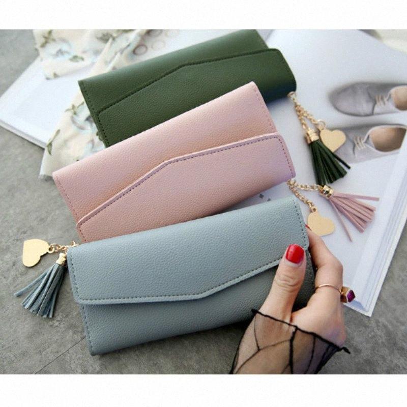 Feminino nova carteira de longa bolsa de mão-esclarecida mão pingente de coração moda multi-funcional lychee padrão mulheres wallet senhora a9sc #
