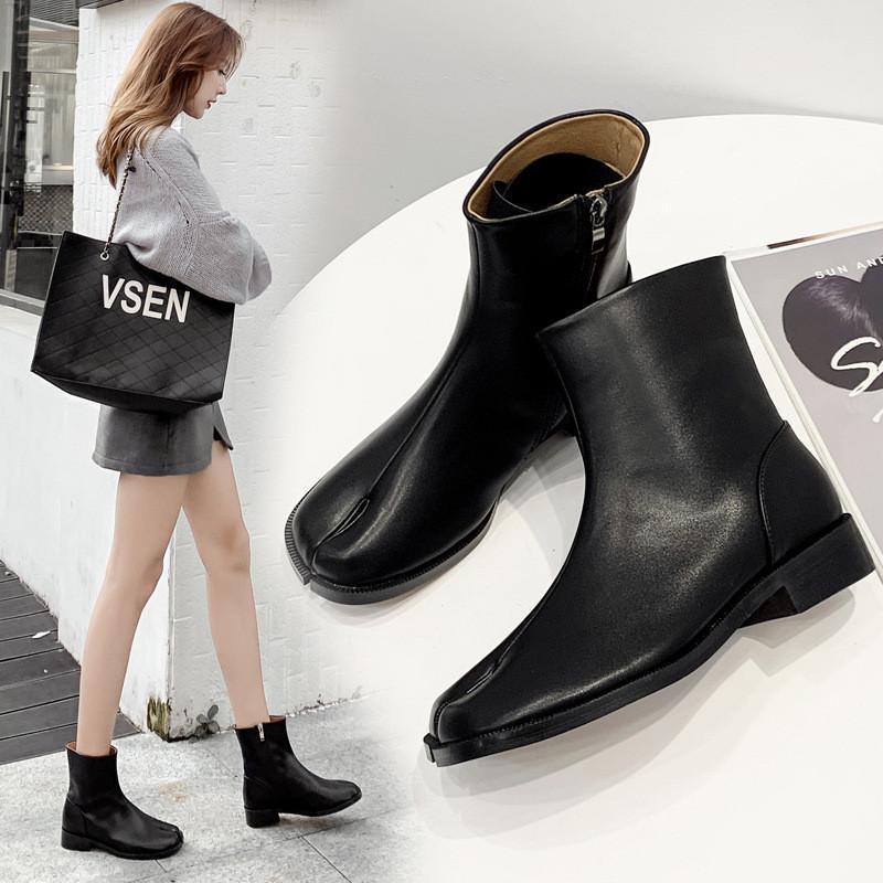 Bottes Split-Toe Chaussures Femme Bas Heel Square Toe Short 2021 Black Bas-Theel Coor Trotters Femmes