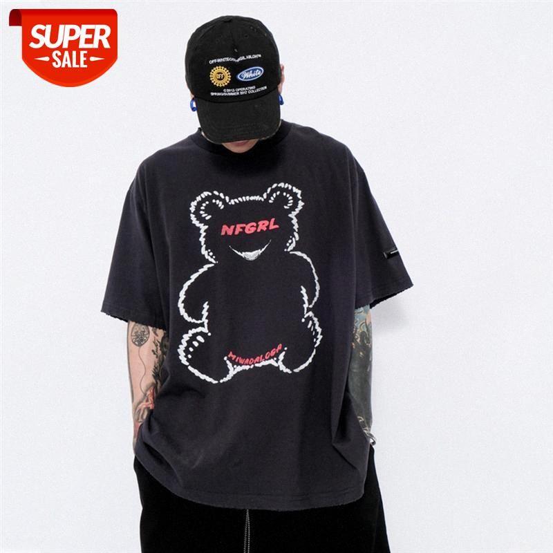 Cartoon Bear Stampa T-shirt a maniche corte T-shirt da uomo Europeo E Americano Brand Fashion Brand Skin Round Neck Five-Point Sleew Summer Trend Com # TP0V