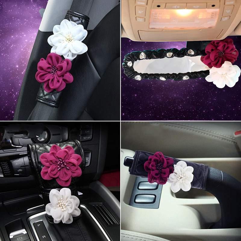 Rose Flower Auto Seat Cintura Cintura in pelle freno a mano Gear Shifter Car Shoulder Pad Styling Girls Accessori Cinture di sicurezza