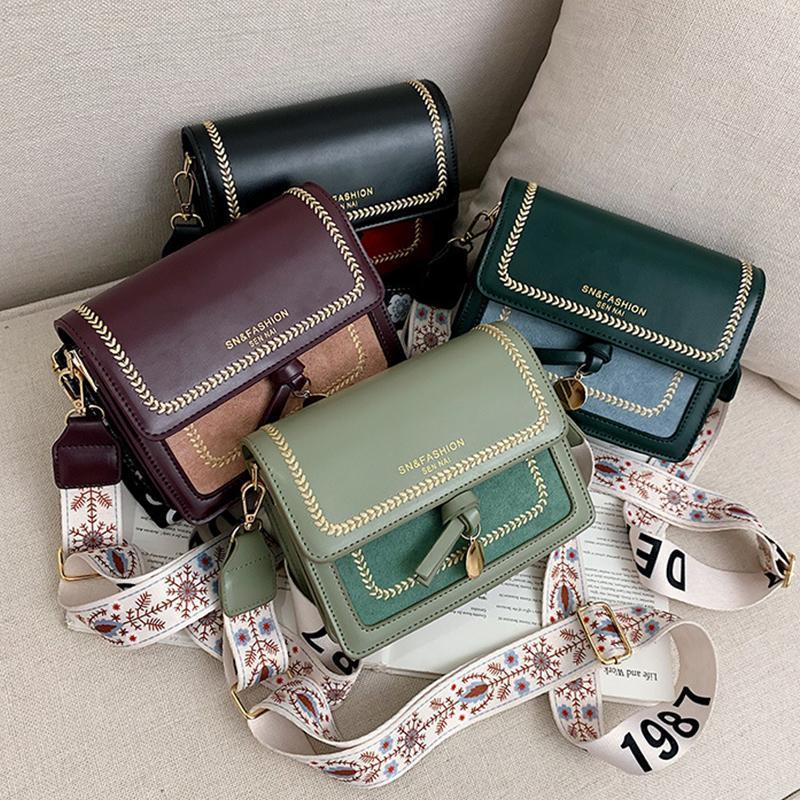 작은 정사각형 합성 가죽 여성 가방, 광대역 잠금 버튼 어깨 끈, 대비 색상, 2021 가방