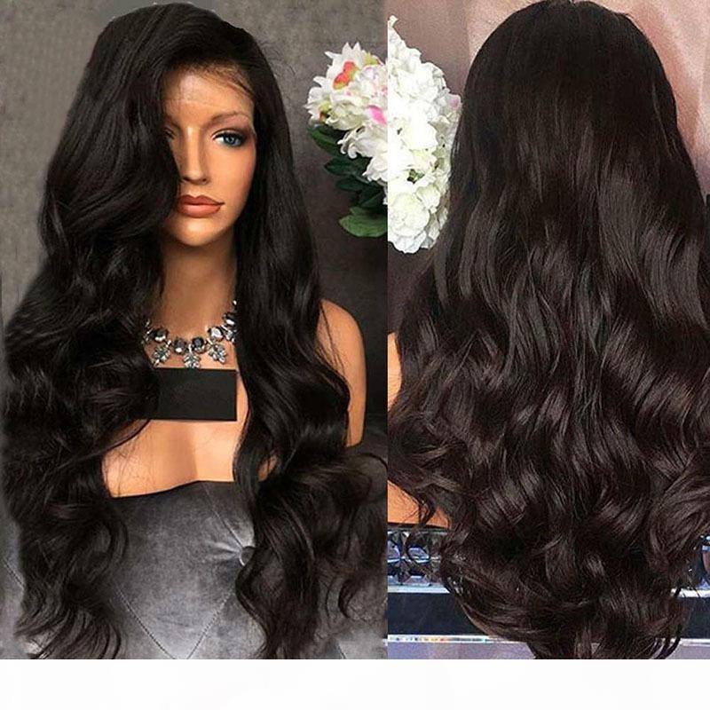 أسود اللون الاصطناعية الدانتيل الجبهة الباروكة الجسم موجة رخيصة طويل متموج كامل الرباط الباروكة مع شعر الطفل للأفريقيا السود المرأة FZP79
