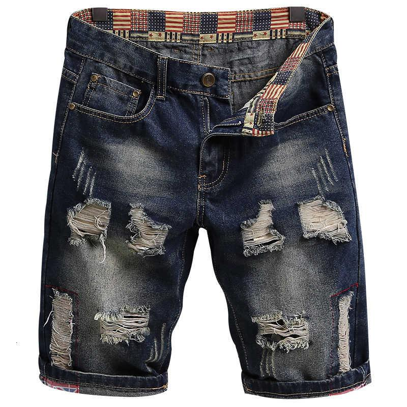 2021 summer fashion brand holed Jeans Shorts men personality beggar ragged pants thin 5-point breeches men's