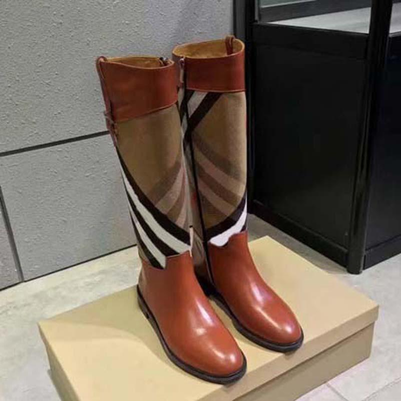 2021 Vendi bene Moda Boots Boots in vera pelle in cotone Tessuto Lettere Testa rotonda Stivale medio per cowboy Booties Home011 11
