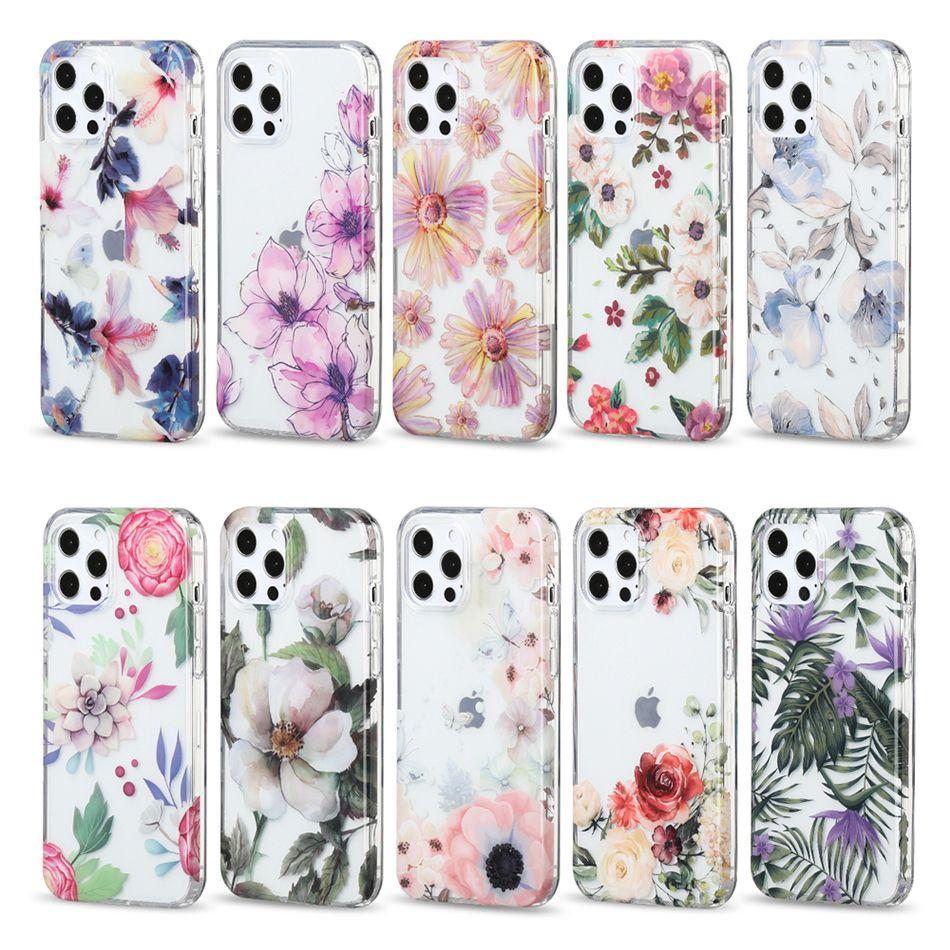 واضح الزهور صدمات المرأة الفتيات الحالات الهاتف الخليوي آيفون 12 11 برو ماكس xr xs 8 7 بلس الترا imd جميلة زهرة نمط غطاء الهاتف المحمول