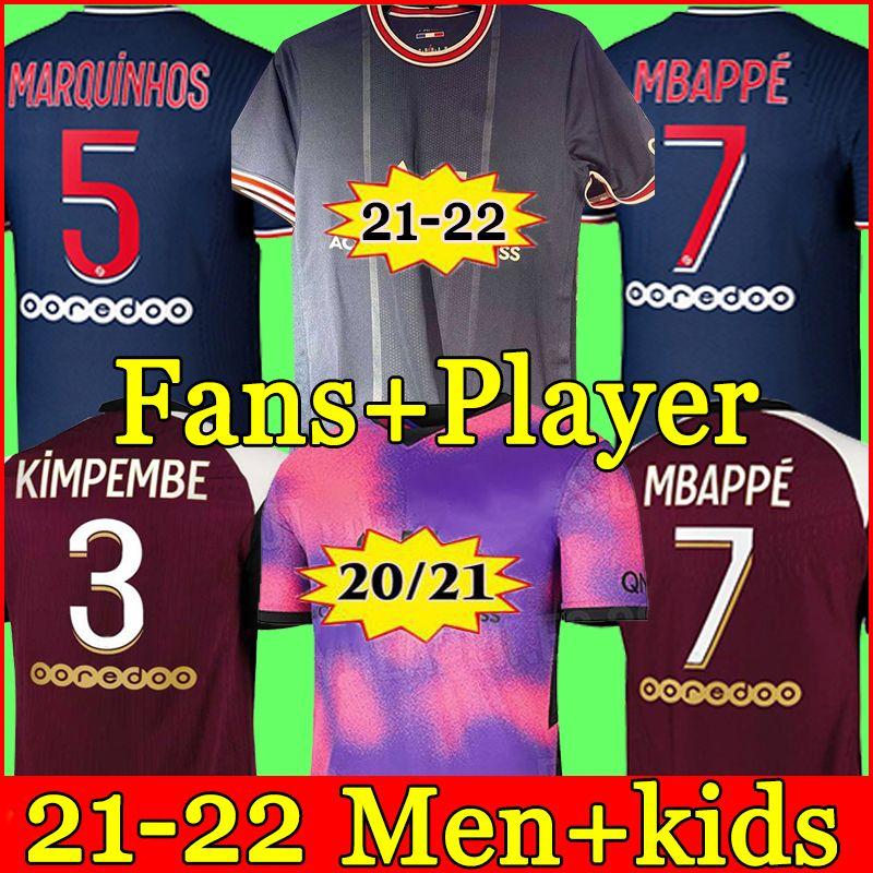 20 21 Tay futbol forması MBAPPE VERRATTI 2020 2021 MARQUINHOS KIMPEMBE DI MARIA KEAN futbol forması futbol üstleri erkek gömlek ve çocuk setleri