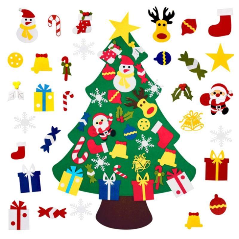 Christmas Decorations DIY Felt Tree Decoration For Home Navidad 2021 Year Ornaments Santa Claus Xmas Kids Gifts
