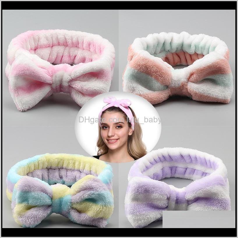 Kızlar Şerit Mercan Polar Yıkama Yüz Yay Hairbands Bayan Makyaj Kafa Şapkalar Moda Kadın Türban TTO0Q Jreai