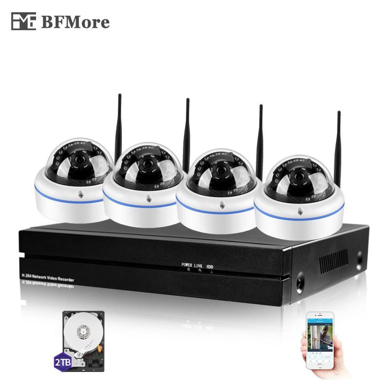 BFMORE 4CH 무선 NVR CCTV 시스템 소니 IMAX323 1080P 실내 돔 IP 카메라 WiFi 비바람에 견디는 보안 감시 키트 시스템