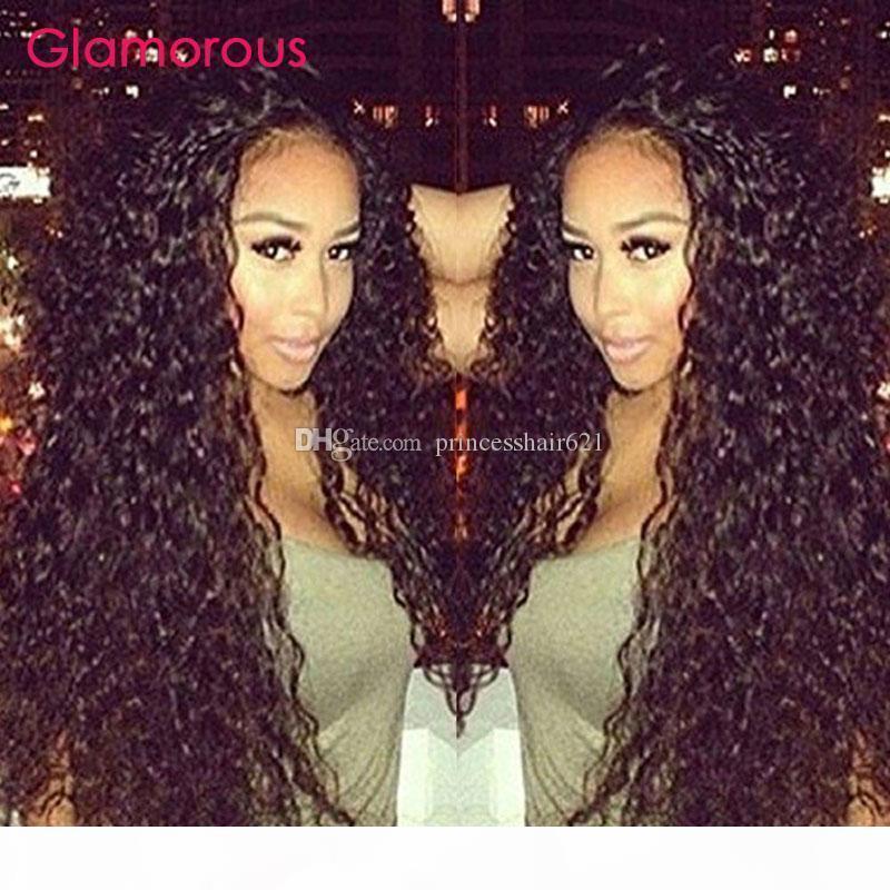 Pelucas de pelo humano glamorosas para mujeres negras Pelucas delanteras de encaje de onda profunda peruana con cabello bebé 10-30 pulgadas de pelo humano pelucas de encaje completo Freeship
