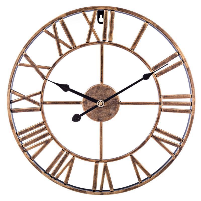 Duvar Saatleri 47 CM Retro Ferforje Stereo Roma Sayısı Saat Sessiz Ev Dekorasyon-Retro Altın / Siyah / Retro Gümüş Için Asılı